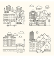 City linear elements in line style vector image
