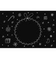 Hand drawn christmas frame on dark background vector image