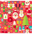 Happy New Year Flat Design Red Seamless Pattern vector image
