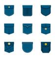 pocket icon set flat style vector image