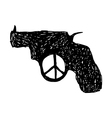 revolver with peace sign at the trigger vector image