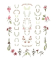 Set of symmetrical floral graphic design elements vector image