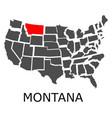 state of montana on map of usa vector image