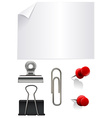 Stationary set with paper and clips vector image