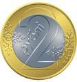 reverse new Belarusian Money two ruble coin vector image vector image