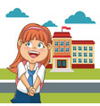 cute girl student school building facade cloud vector image