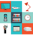 Set of office things vector image vector image