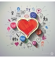 Heart collage with icons background vector image