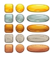 Metallic stone and wooden buttons set vector image