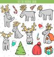 Set color deer doodle different poses for design vector image
