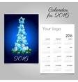 Calendar 2016 with modern Christmas tree vector image