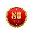 80 years anniversary golden label vector image