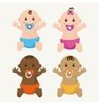 Baby boy and girl cartoon design vector image