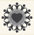 children around heart vector image
