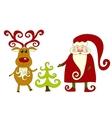 santa reindeer and tree vector image
