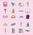 set school education tools patches decoration vector image