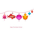 string of bright hanging lantern decorations on vector image