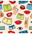 pattern with fashion patch badges vector image