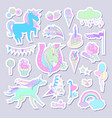 unicorn multicolor stickers with unicorn cloud vector image