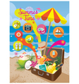 Suitcase with Summer Objects and Icons on Beach vector image