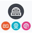 News icons World globe symbols Book sign vector image