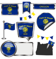 Glossy icons with Oregonian flag vector image