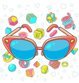 colorful of red sunglasses on white backgrou vector image