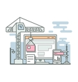 Construction website linear style vector image