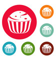 cup cake icons circle set vector image