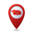 Map pointer with diving mask icon vector image
