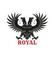 Royal double headed eagle black heraldic symbol vector image