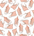 Seamless Pattern with pink sneakers Sport vector image