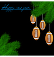 Football balls on Christmas tree branch vector image