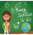 back to school student girl globe board sketch vector image