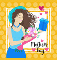 happy mother day woman hold present box spring vector image