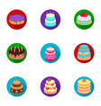 cakes for the holidays a set of different sweets vector image