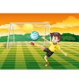 A female player kicking the ball with the flag of vector image vector image