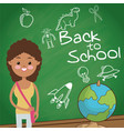 back to school student girl globe board sketch vector image