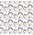 cute unicorn with magic wand and rainbow with vector image