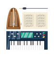 electric keyboard with music sheets concept music vector image