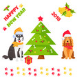 holiday husky and spaniel new year background vector image