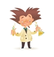 Mad professor in lab coat holding chemical flask vector image