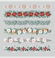 set of christmas borders strings garlands or vector image