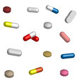 Set of pills medication in 3D vector image