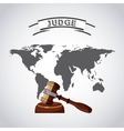 world planet with gavel judge vector image