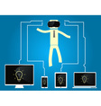 man with glasses of virtual reality are connected vector image