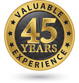 45 years valuable experience gold label vector image vector image