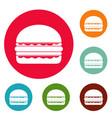 burger icons circle set vector image