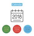 calendar icon 2018 new year 2018 vector image
