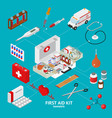 first aid kit element set isometric view vector image
